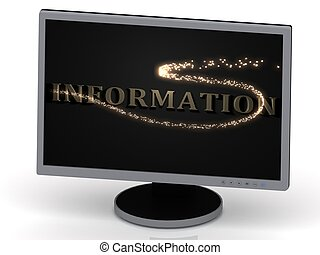 INFORMATION Inscription on monitor from metal letters