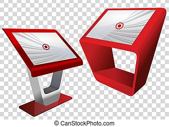 information, interactif, display., exposer, haut, deux, terminal, kiosque, publicité, toucher, stand, promotionnel, écran, template., railler, rouges
