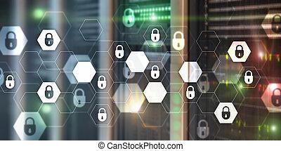 information, intimité, données, résumé, protection, cyber, bannière, arrière-plan., sécurité, technologie