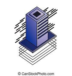 information, isométrique, base données, stockage, serveur, technologie