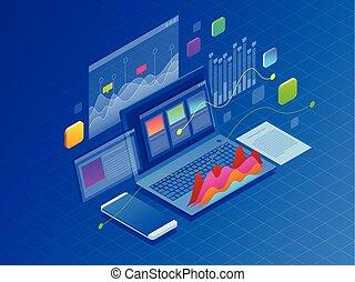 information, isométrique, concept, financier, business, diagrammes, ordinateur portable, illustration, graphiques, strategy., vecteur, ultra-violet, fond, infographics, données, ou, statistic.