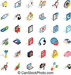 information, isométrique, icônes, ensemble, style, nuage