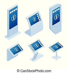 information, isométrique, paiement, exposer, promotionnel, terminal, kiosque, systèmes, publicité, ligne, toucher, stand, affichage écran, interactif