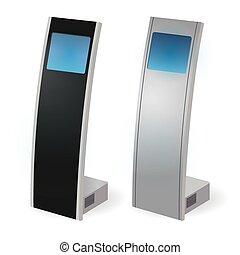 information, kiosque, terminal, vecteur, stand, interactif