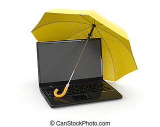 information., laptop, schutz, schirm