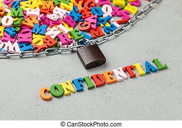 information, lettres, chaîne, confidentiel, symbole, locked., fermé, emballé, information.