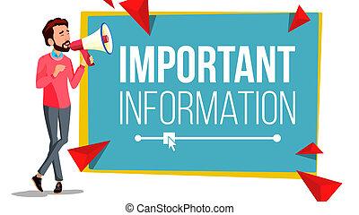 information, loudspeaker., bubble., attention, illustration, megaphone., important, parole, vector., homme affaires, bannière