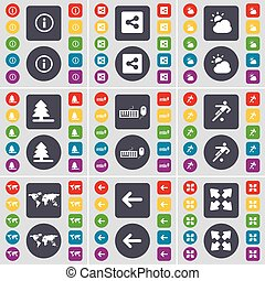Information mark, Share, Cloud, Firtree, Keyboard, Football, Globe, Arrow left, Full screen icon symbol. A large set of flat, colored buttons for your design. Vector