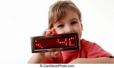 information, mené, tient, anniversaire, mots, girl, exposer, heureux