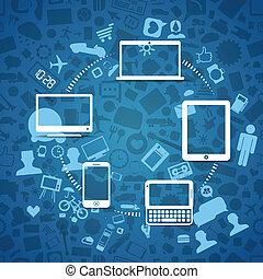 information, moderne, trådløs, gadgets, fransfer, tværs