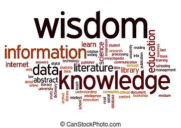 information, mot, connaissance, sagesse, données, nuage