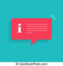 Information notification message bubble speech vector illustration, flat cartoon isolated info attention help sign with text clipart
