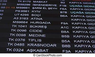 information, nouveau, languages., inscriptions, turc, istanbul., exposer, anglaise, haut, aéroport, calendrier, départs, information, changer, fin