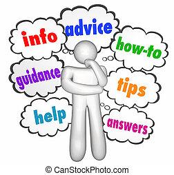 information, nuages, aide, conseil, pensée, comment, penseur, pointes