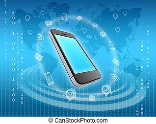 information, omgiven, ikonen, mobil, messages., ringa