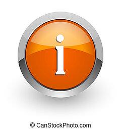 information orange glossy web icon