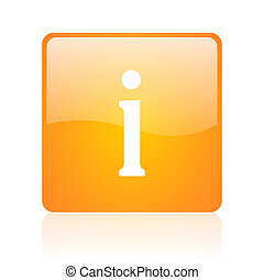 information orange square glossy web icon