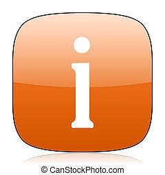 information orange square web design glossy icon