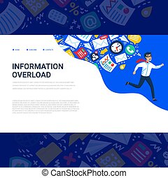 Information overload concept. Horizontal template with Young...
