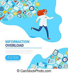 Information overload concept. Young women running away from...