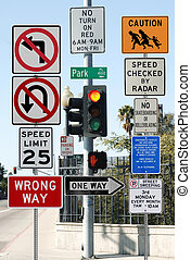 Information Overload - Street intersection congested with...