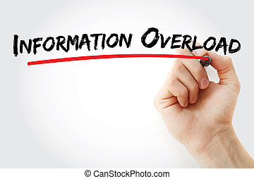 Information overload text with marker