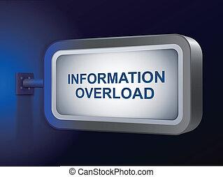 information overload words on billboard over blue background