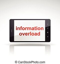 information overload words on mobile phone isolated on white