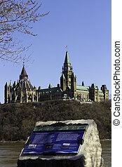 information, parlement, plaques, colline