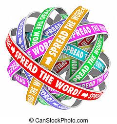 information, partage, mot, interminable, diffusion,...