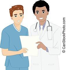 information, patient, docteur, infirmière, discuter, homme