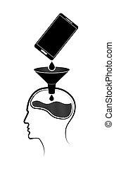 information, personne, mobile, résumé, emblem., téléphone, s, brain., logo, obtient, ou