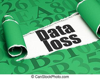 information, perte, texte, papier déchiré, noir, sous, morceau, données, concept:
