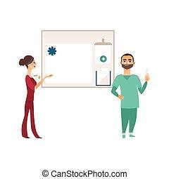information, plat, docteur, vecteur, planche, seringue, infirmière