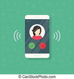 information, plat, smartphone, sonner, clipart, cellphone, mobile, exposer, illustration, isolé, vibrer, ou, téléphone, contact, appeler, anneau, vecteur, dessin animé, icône