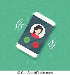 information, plat, smartphone, sonner, illustration, mobile, exposer, ou, vibrer, contact, téléphone, vecteur, conception, appeler, anneau, dessin animé, cellphone, icône