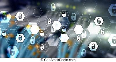 information, privacy., données, résumé, protection, cyber, bannière, arrière-plan., sécurité, technologie