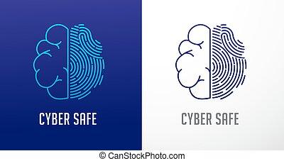 information, privatliv, netværk, afsøge, cyber, hjerne, vektor, protection., menneske, fingeraftryk, ikon, garanti, logo, ikon