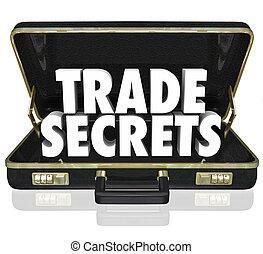 information, propriété, serviette, ouverture, secrets, intellectuel, commercer, cuir, noir, mots, propriété, ou, illustrer