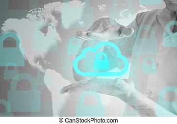 information, protéger, calculer, concept., sécurité, sécurité, données, nuage