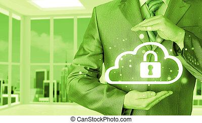 information, protéger, concept., computing., sécurité, sécurité, données, nuage