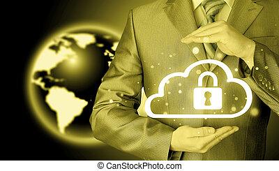 information, protéger, concept, données, nuage