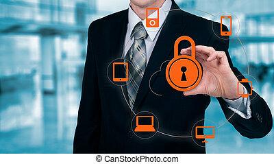information, protéger, concept., sécurité, sécurité, données, nuage