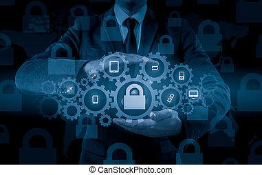 information, protéger, data., concept., sécurité, sécurité, données, nuage