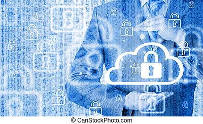 information, protéger, données, concept., nuage