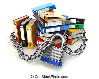 Information protection.  File folder and chain with lock. Data and privacy security.