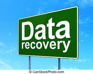 information, récupération, signe, route, fond, données, concept: