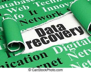 information, récupération, texte, papier déchiré, noir, sous, morceau, données, concept: