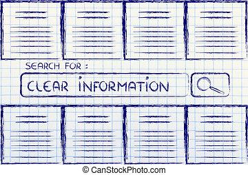 information, recherche, documents, clair, regarder, barre
