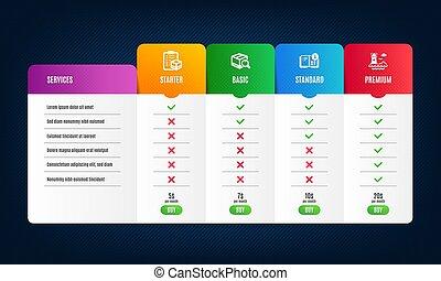 information, recherche, paquet, liste contrôle, paquet, set., instruction, phare, vecteur, icônes, signe.